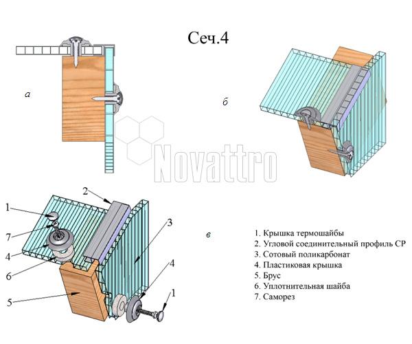 ...другу на торце конструкции: а - двумерное изображение узла, б - трехмерное изображение узла, в - схема сборки узла.