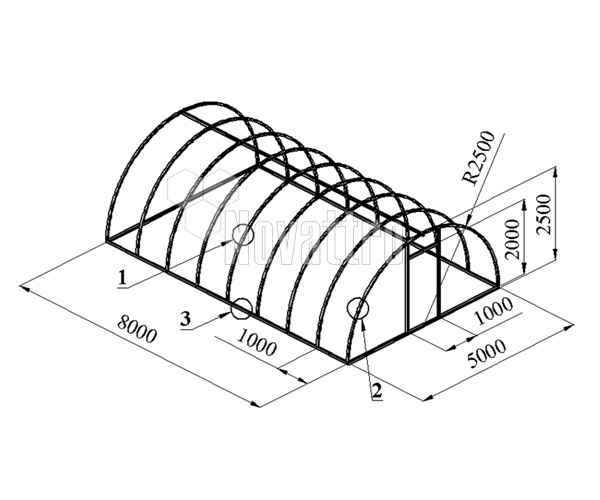 Каркас конструкции арочного